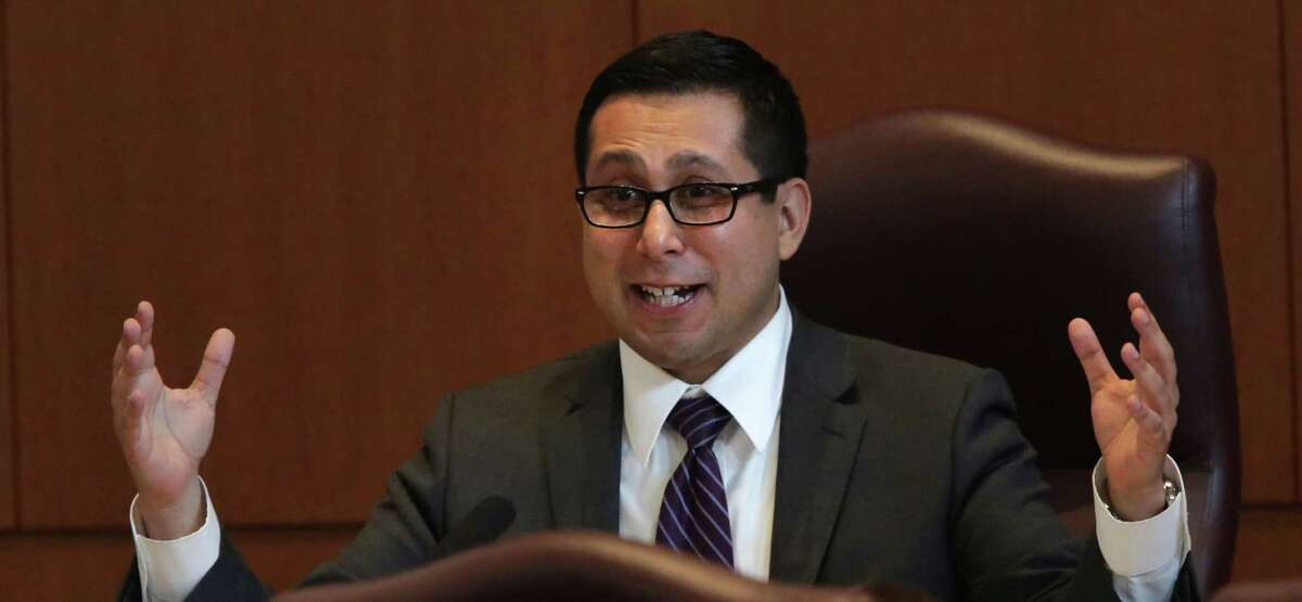 City Council member Diego Bernal makes a point during Session B in City Council Chambers for the Nondiscrimination Ordinance meeting at City Hall on Wednesday, August 28, 2013.