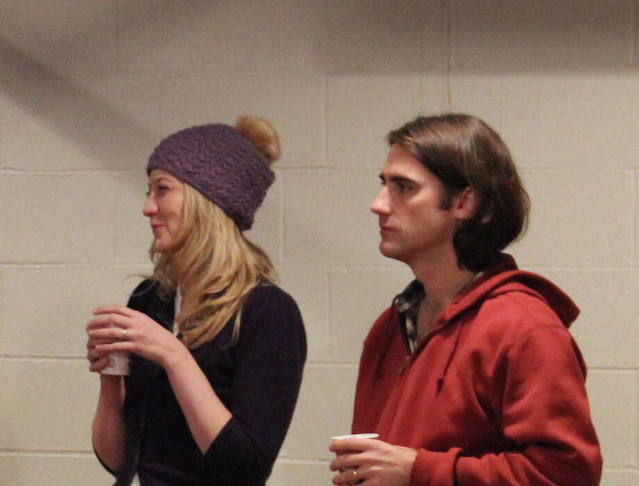 "Playwright Heidi Schreck and director Kip Fagan watch the first rehearsal of ""The Consultant"" which starts performances at Long Wharf Theatre on Wednesday, Jan. 8. Photo: Contributed Photo / Connecticut Post Contributed"