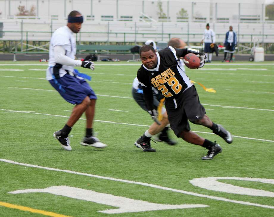 Enforcer Cassius Lott (No. 22) has his eyes on the goal line during action at the Holiday Bowl. Photo: Picasa