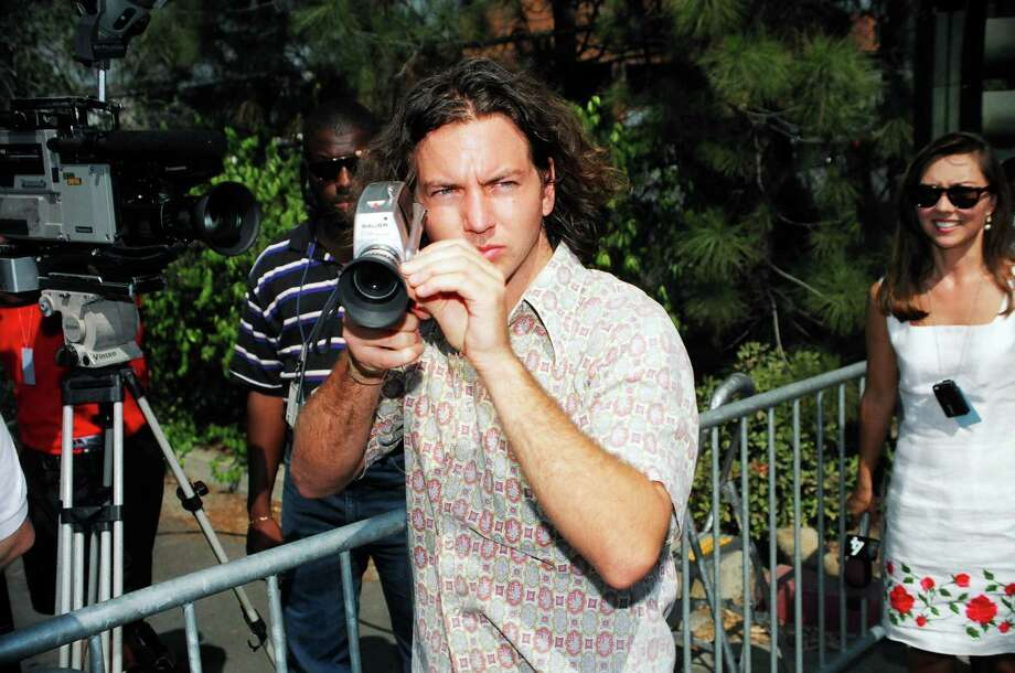 1993: Vedder making movies or being funny? Who knows. Photo: Jeff Kravitz, Getty Images / FilmMagic, Inc