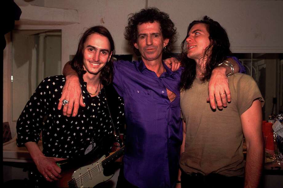 "1992: Mike McCready, left, and Vedder ask Keith Richards for the secret to eternal youth. We believe his answer was ""red wine."" Photo: Paul Natkin, Getty Images / 2010 Paul Natkin"