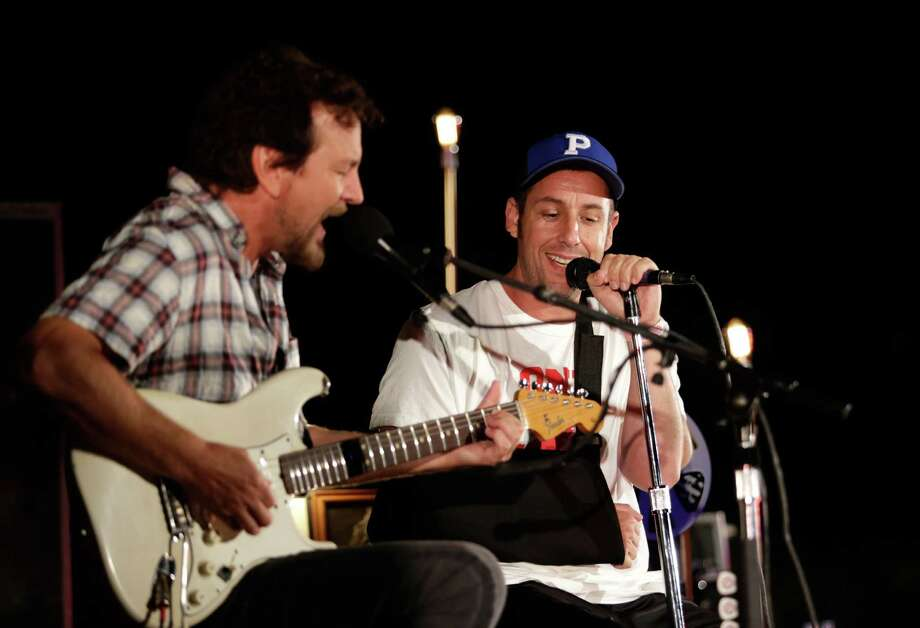 2013: Vedder and Adam Sandler. We assume they're singing the Hanukkah song. Photo: Jeff Vespa, Getty Images / 2013 Jeff Vespa
