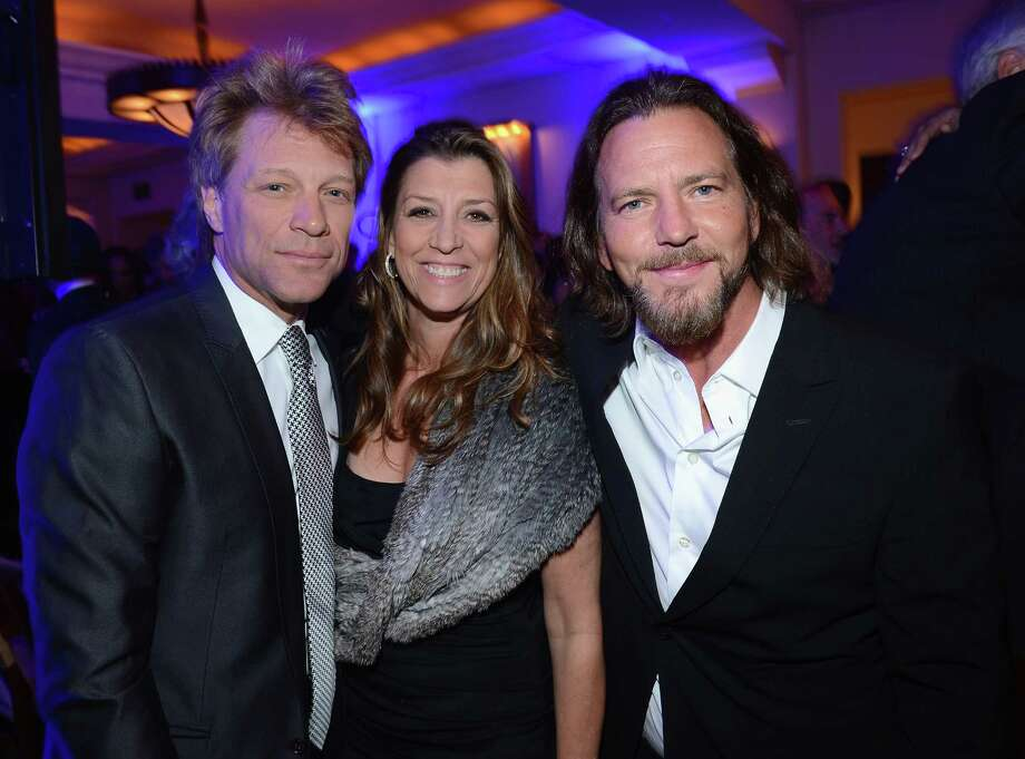 2013: Vedder, pictured with Jon Bon Jovi and Dorothea Hurley shortly after Vedder explained motorcycle-themed songs just aren't his thing. Bon Jovi reportedly feels the same way about ukulele music. Photo: Michael Buckner, Getty Images / 2013 Getty Images