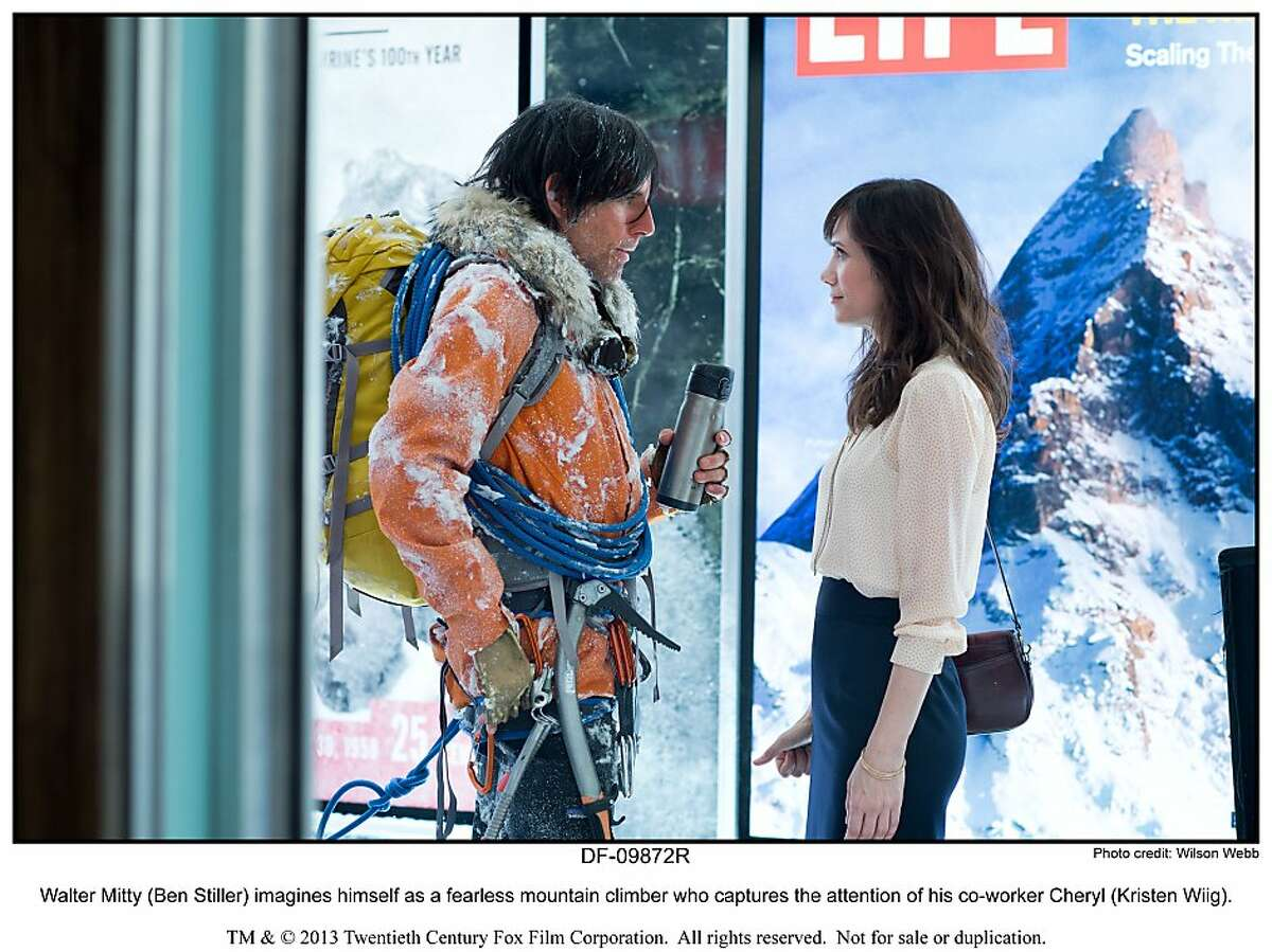 Walter Mitty (Ben Stiller) imagines himself as a fearless mountain climber who captures the attention of his co-worker Cheryl (Kristen Wiig).