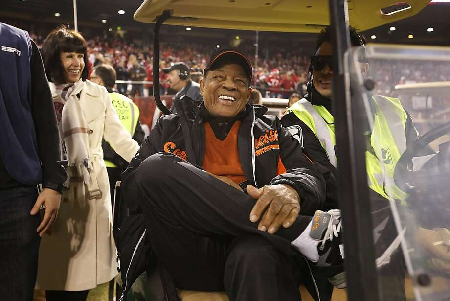 Former San Francisco Giants outfielder Willie Mays participates in the pregame ceremony before the game between the San Francisco 49ers and Atlanta Falcons at Candlestick Park on Monday December 23, 2013 in San Francisco, Calif. Photo: Michael Macor, The Chronicle