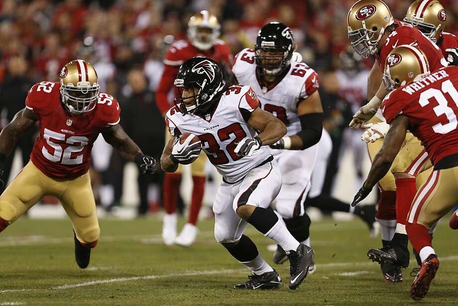 Atlanta Falcons running back Jacquizz Rodgers (32) runs during the first quarter of the game between the San Francisco 49ers and Atlanta Falcons at Candlestick Park on Monday December 23, 2013 in San Francisco, Calif. Photo: Michael Macor, The Chronicle