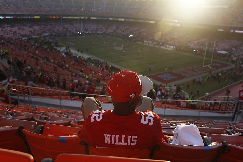 Michael East takes in the view as the first to arrive in section 59 before a 49ers game against the Atlanta Falcons at Candlestick Park on December 23, 2013 in San Francisco, Calif. This will be the last regular-season game at Candlestick Park. Photo: Pete Kiehart, The Chronicle