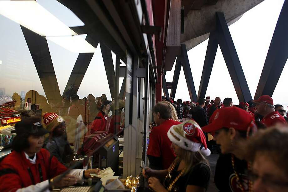 Fans purchase concessions before a 49ers game against the Atlanta Falcons at Candlestick Park on December 23, 2013 in San Francisco, Calif. This will be the last regular-season game at Candlestick Park. Photo: Pete Kiehart, The Chronicle