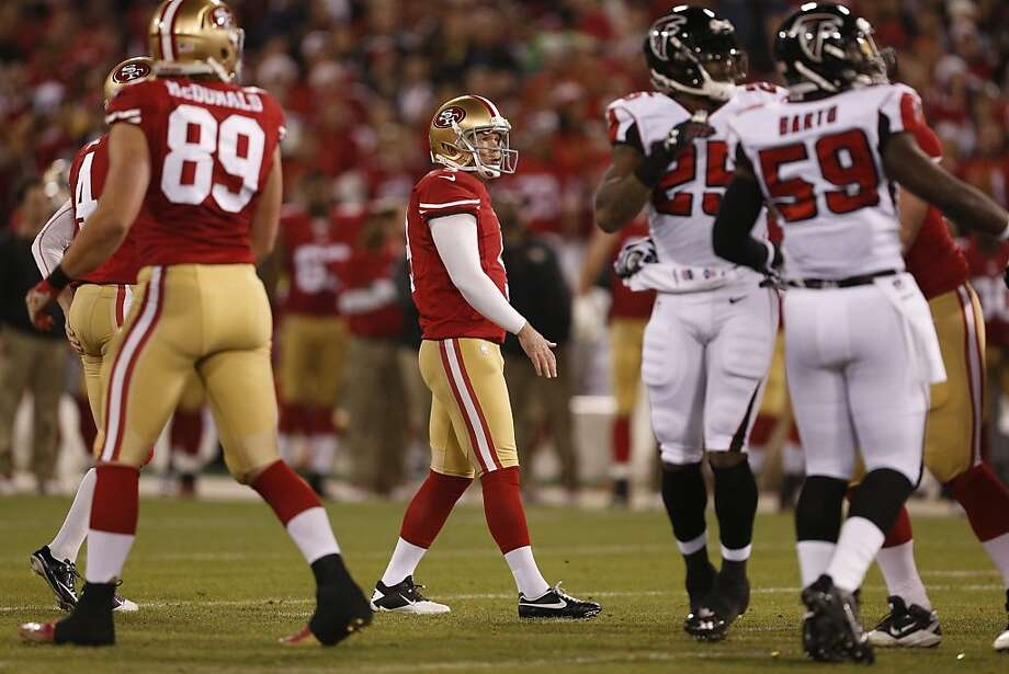 San Francisco 49ers kicker Phil Dawson (9) watches his first quarter field goal giving the niners a 3-0 lead over the Atlanta Falcons at Candlestick Park on Monday, Dec. 23, 2013 in San Francisco, Calif. Photo: Beck Diefenbach, For The Chronicle
