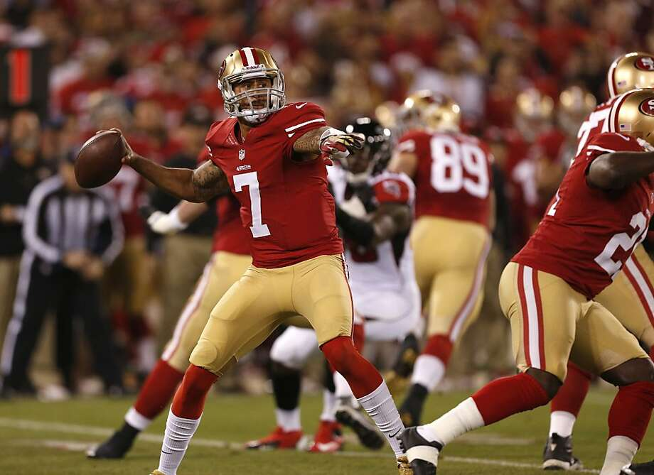 San Francisco 49ers quarterback Colin Kaepernick (7) drops back to pass in the first quarter against the Atlanta Falcons on Monday, Dec. 23, 2013 in San Francisco, Calif. Photo: Beck Diefenbach, For The Chronicle