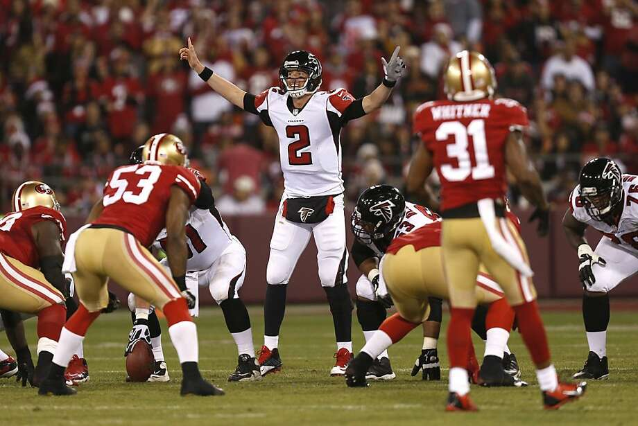 Atlanta Falcons quarterback Matt Ryan (2) gestures to his offense during the second quarter of the game between the San Francisco 49ers and Atlanta Falcons at Candlestick Park on Monday December 23, 2013 in San Francisco, Calif. Photo: Michael Macor, The Chronicle