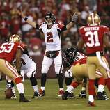 Atlanta Falcons quarterback Matt Ryan (2) gestures to his offense during the second quarter of the game between the San Francisco 49ers and Atlanta Falcons at Candlestick Park on Monday December 23, 2013 in San Francisco, Calif.