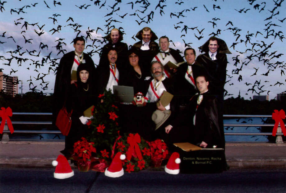 One year, the firm's lawyers dressed as vampires and were digitally added onto the Congress Avenue Bridge in Austin. Photo: Courtesy Of Denton, Navarro, Rocha & Bernal