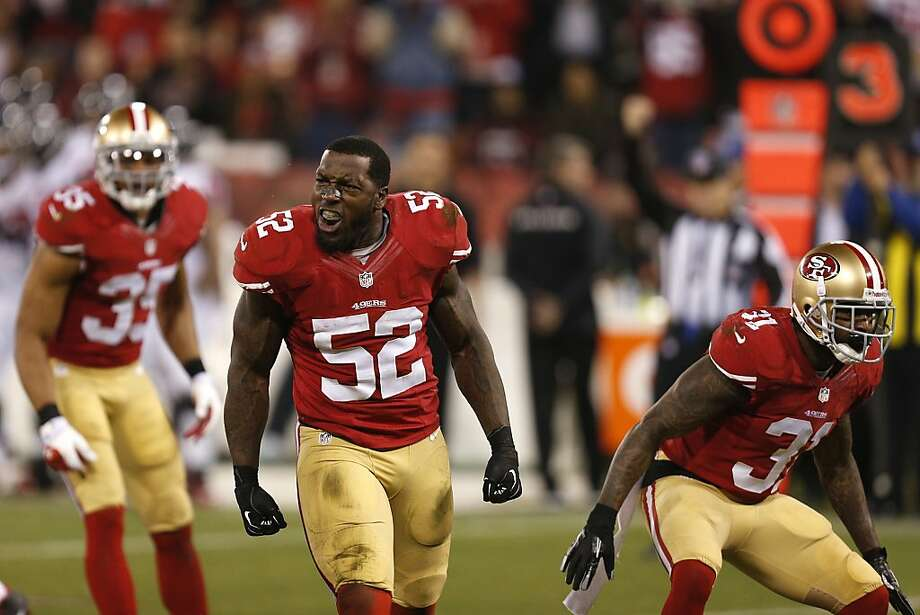 San Francisco 49ers linebacker Patrick Willis (52) celebrates after a tackle in which his helmet was knocked off, during the fourth quarter of the game between the San Francisco 49ers and Atlanta Falcons at Candlestick Park on Monday December 23, 2013 in San Francisco, Calif. Photo: Michael Macor, The Chronicle