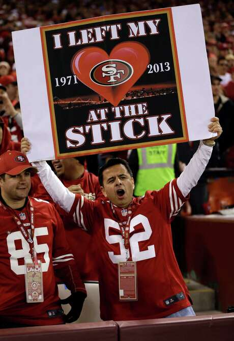 A 49ers fan shares his feelings about Candlestick Park in the team's final regular-season game at the venerable stadium near San Francisco Bay. Photo: Marcio Jose Sanchez, STF / AP
