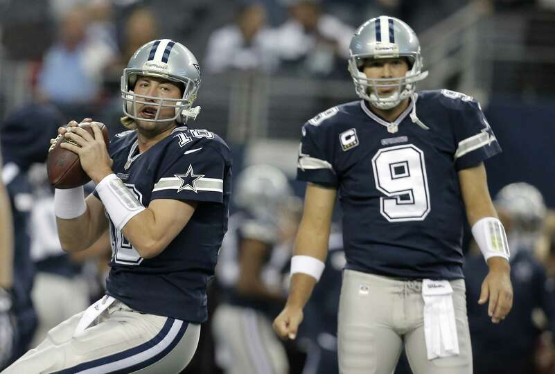 Kyle Orton (left) will start at QB for the Cowboys on Sunday night if Tony Romo's injured back preve