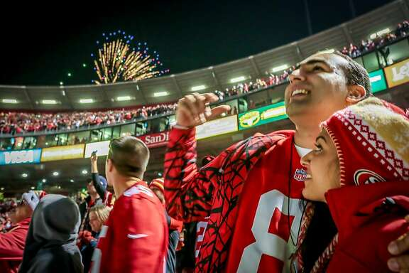 Fans enjoy the fireworks after the 49ers beat the Falcons  during the last game at Candlestick Park in San Francisco, Calif., on December 23rd, 2013.