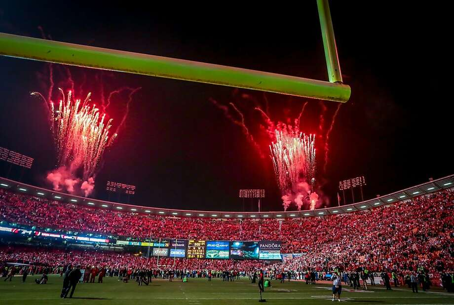 Fireworks at the stadium after 49ers beat the Atlanta Falcons during the last game at Candlestick Park in San Francisco, Calif., on December 23rd, 2013. Photo: John Storey, Special To The Chronicle
