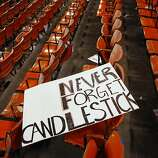 A fans discarded sign is seen after the San Francisco 49ers defeated  the Atlanta Falcons during a Monday Night Football game which will be the last regular season game to be held at Candlestick Park in San Francisco, CA, Monday, December 23, 2013.