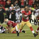 Patrick Willis, who had 18 tackles, had cause for celebration as the 49ers closed Candlestick Park with a thrilling victory.