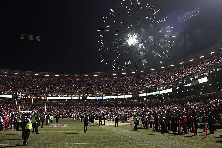 Fireworks go off at Candlestick Park to celebrate the San Francisco 49ers last game at the park on Monday, Dec. 23, 2013. The San Francisco 49ers hosted the Atlanta Falcons at one of their last games at Candlestick Park. Photo: James Tensuan, Special To The Chronicle