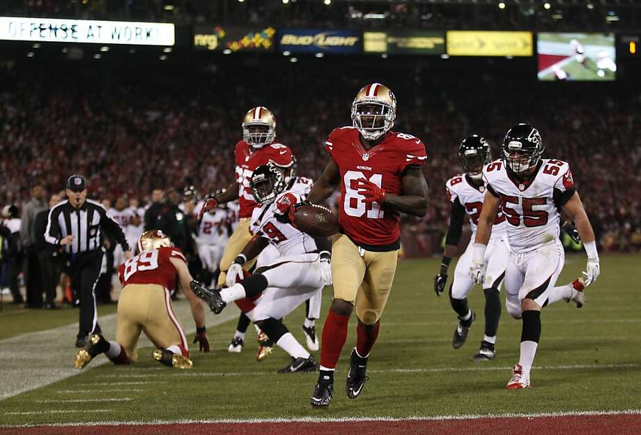 San Francisco 49ers wide receiver Anquan Boldin (81) scores a 3rd quarter touchdown to tie the Atlanta Falcons 10-10 at Candlestick Park on Monday, Dec. 23, 2013. Photo: Beck Diefenbach, For The Chronicle