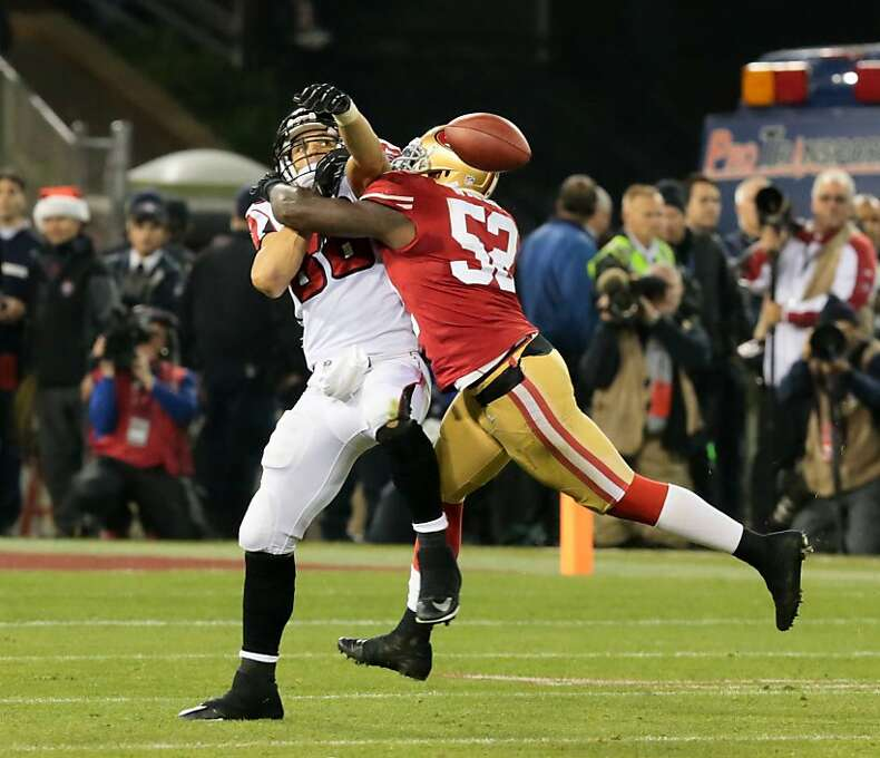 San Francisco 49ers linebacker Patrick Willis (52) breaks up a pass intended for Atlanta Falcons tight end Tony Gonzalez (88) during the second quarter at Candlestick Park on Monday, Dec. 23, 2013 in San Francisco, Calif. Photo: John Storey, For The Chronicle