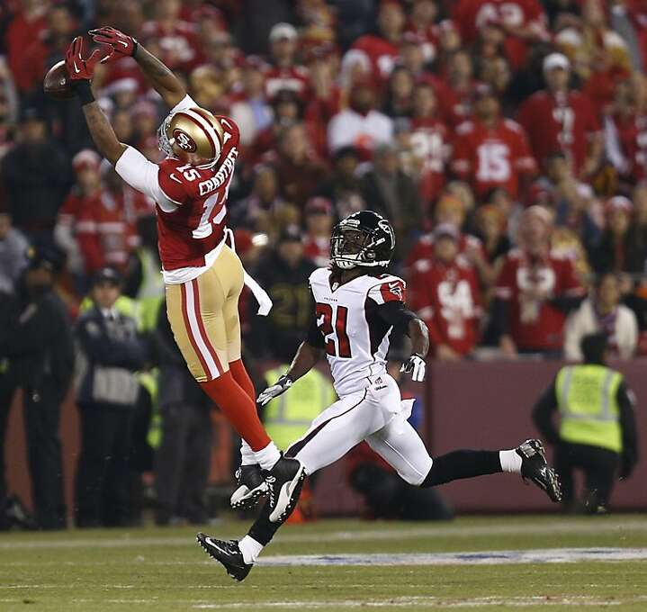 San Francisco 49ers wide receiver Michael Crabtree (15) drops a pass as Atlanta Falcons cornerback Desmond Trufant (21) looks on during the third quarter of the game between the San Francisco 49ers and Atlanta Falcons at Candlestick Park on Monday December 23, 2013 in San Francisco, Calif. Photo: Michael Macor, The Chronicle