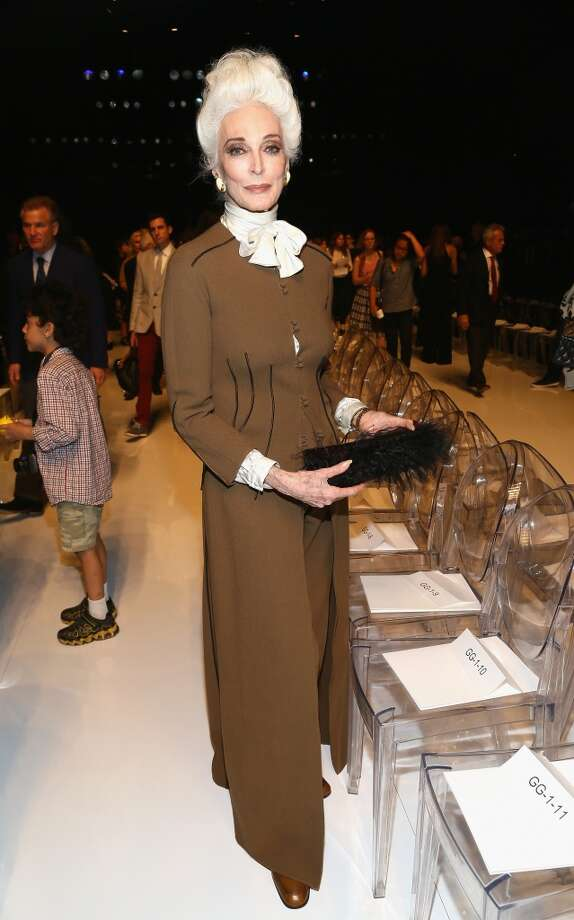 Model Carmen Dell'Orefice on September 8, 2013 in New York City at the Ralph Rucci Spring 2014 Fashion Show. Dell'Orefice was born in 1931. Photo: Astrid Stawiarz