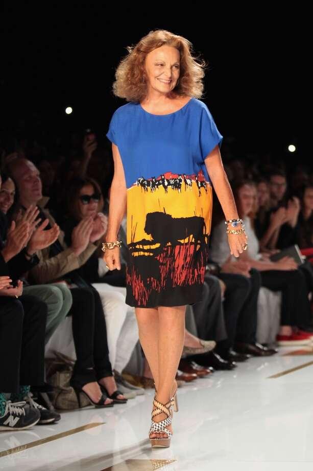Diane von Furstenberg walks the runway at Mercedes-Benz Fashion Week Spring 2014 on September 8, 2013 in New York City.  Von Furstenberg was born in 1946. Photo: Jason Carter Rinaldi