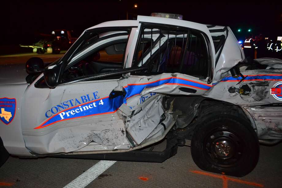 A squad car from Harris County Constable's Office Precinct 4 was damaged when a suspected drunk driver hit it in November. Photo: HCC4