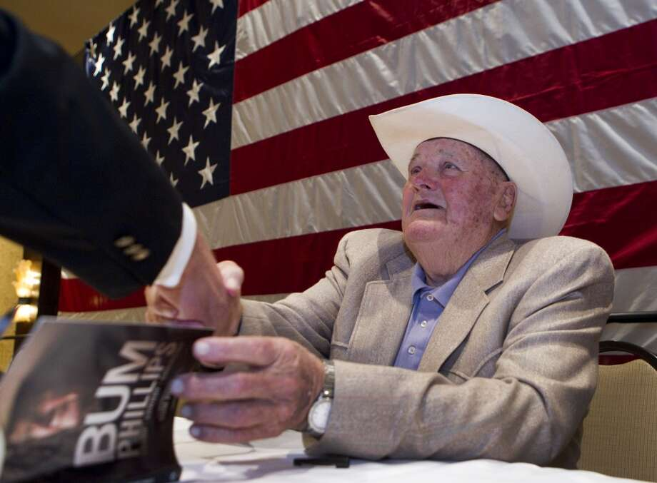 Bum Phillips Sept. 29, 1923 – Oct. 18, 2013The folksy football icon who coached the Oilers during their Luv Ya Blue heyday and later led the New Orleans Saints. Phillips took over as coach of the Oilers in 1975 and led Houston to two AFC Championship games before he was fired in 1980. He left Texas to coach the Saints in 1981, going 27-42 before retiring after the 1985 season. Phillips died at his ranch in Goliad, Texas at the age of 90. Photo: Brett Coomer, Houston Chronicle