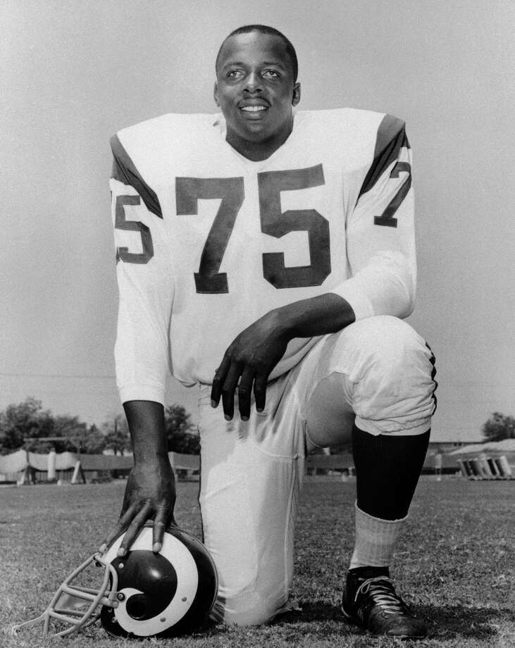 """David """"Deacon"""" Jones Dec. 9, 1938 – June 3, 2013Hall of Fame defensive end credited with terming the word sack for how he knocked down quarterbacks. Jones was the leader of the Rams' Fearsome Foursome unit from 1961-71, and then played for San Diego for two seasons before finishing his career with Washington in 1974. He was inducted into the Pro Football Hall of Fame in 1980 and was voted to the league's 75th anniversary all-time team. Jones died at 74 of natural causes at his home in Anaheim Hills, California. Photo: Associated Press"""