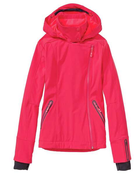 Sprint red/coralade Sun Valley Ski Jacket by Athleta is an example of winter-sport outerwear in nontraditional, bright colors. Photo: Athleta / Associated Press / Athleta