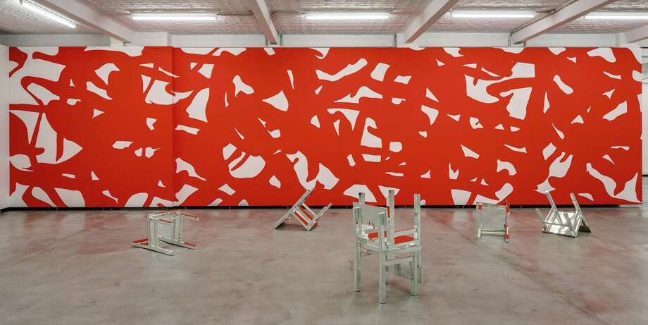 """The mural """"Adam"""" by Arturo Herrera, is a meditation on red and its life force. It's displayed on a downtown wall near Main Plaza. Photo: Courtesy Photo / © David-Brandt.de"""