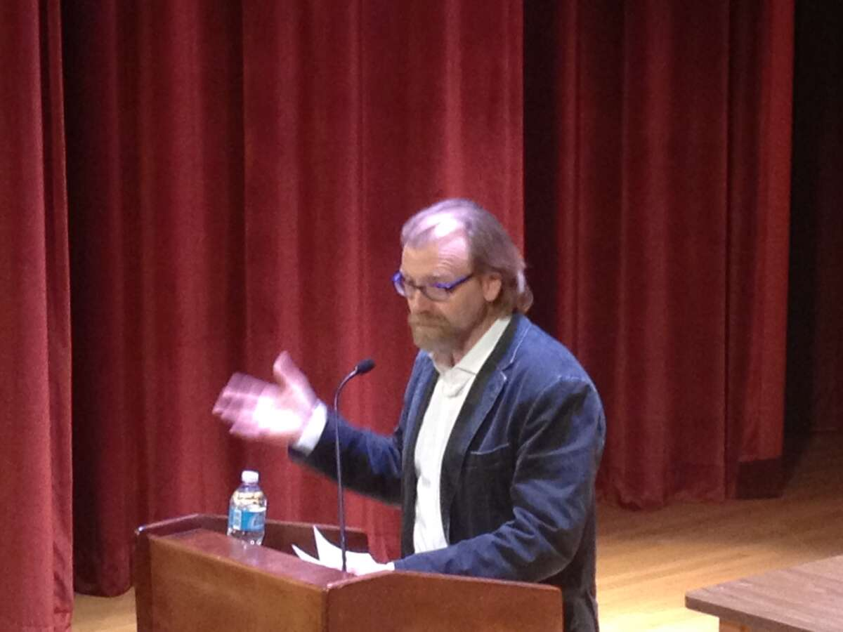 George Saunders, a visiting writer at the New York State Writers Institute, speaks Thursday evening at the Recital Hall at the University at Albany in Albany. (Michael Janairo / Times Union)