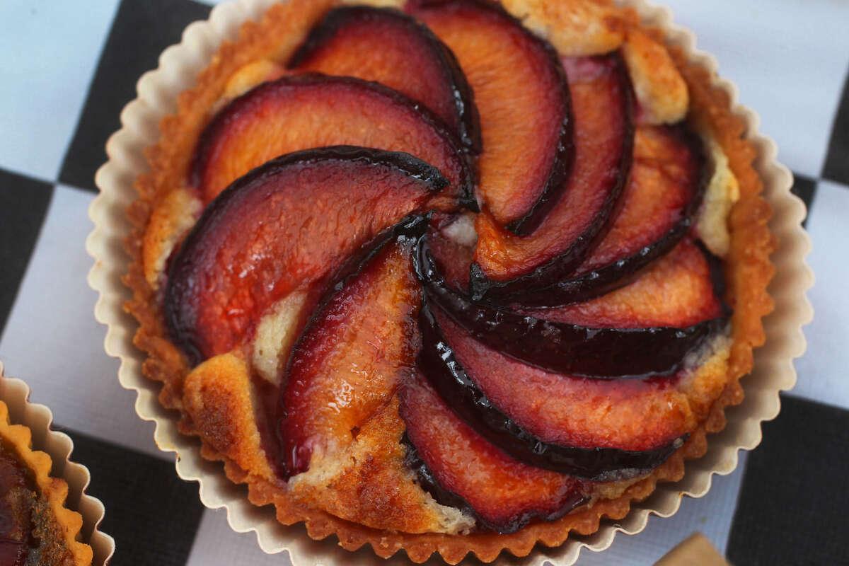 A Plum Frangipane tart at Bakery Lorraine. The restaurant has been featured in Bon Appetít.