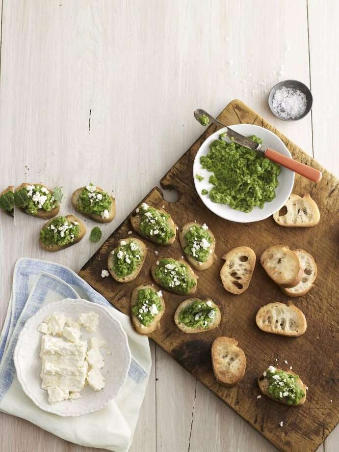 Recipe for Pea-and-Feta Crostini from Country Living. Photo: Andrew Purcell
