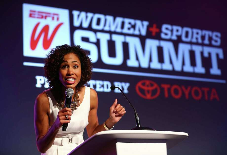 "Sage Steele, speaking at the ESPNW Women + Sports Summit in California in October, is making inroads for female sports commentators as a host of ""NBA Countdown"" on the network. Photo: Joe Scarnici / Getty Images / 2013 Getty Images"