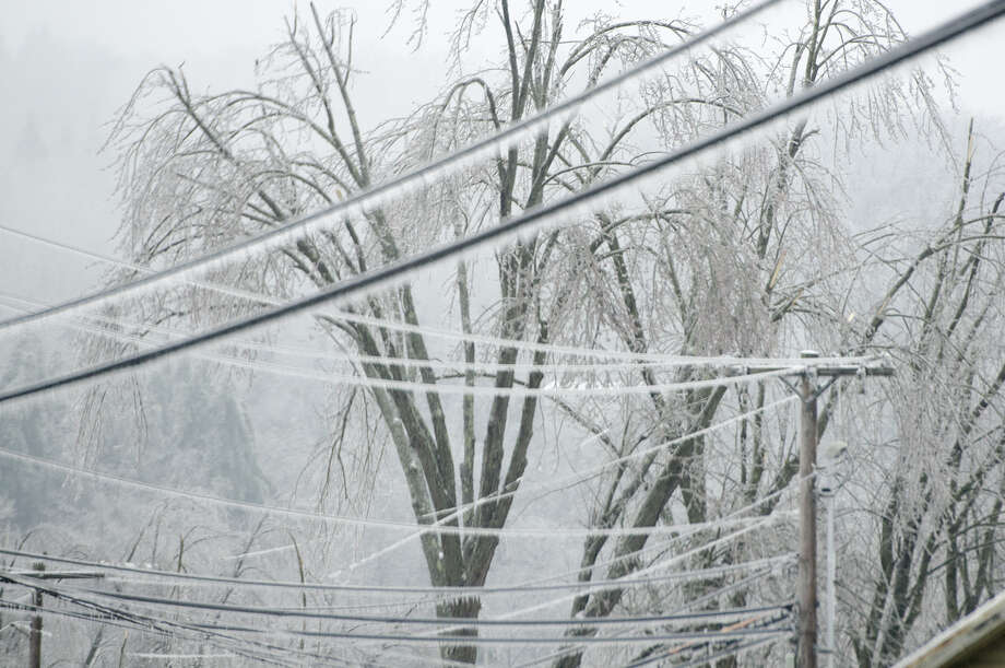 Trees and power lines grow heavy with ice as freezing rain continues into Monday morning, Dec. 23, 2013, in Cambridge, Vt. From Michigan to Maine, hundreds of thousands remain without power days after a massive ice storm _ which one utility called the largest Christmas-week storm in its history _ blacked out homes and businesses in the Great Lakes and Northeast. (AP Photo/Burlington Free Press, Emily McManamy) Photo: Emily McManamy, MBR / Burlington Free Press