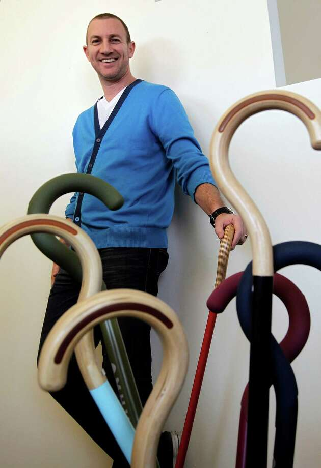 """Assaf Wand's company makes canes and other products that he wants to be hip-looking. """"Products for older people are so gray, dull and boring,"""" he says. Photo: Michael Macor, Staff Photographer / ONLINE_YES"""