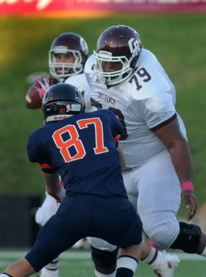 OL Isaiah Edwards, Jr., Cinco RanchThe 6-6, 340-pound tackle matched his size with production that earned him first-team all-district honors. Photo: Jerry Baker , For The Chronicle