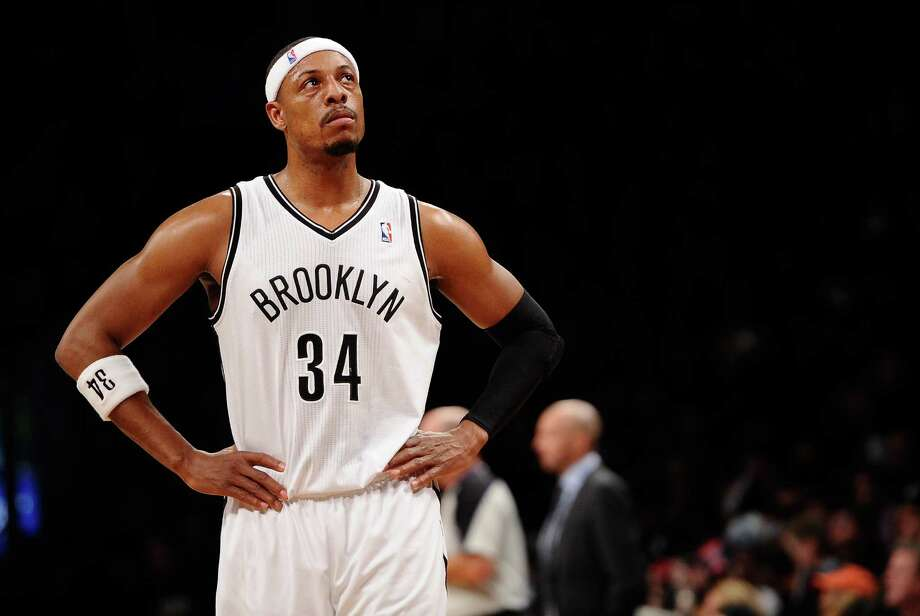 NEW YORK, NY - DECEMBER 18:  Paul Pierce #34 of the Brooklyn Nets looks on during the first half against the Washington Wizards at Barclays Center on December 18, 2013 in the Brooklyn borough of New York City. NOTE TO USER: User expressly acknowledges and agrees that, by downloading and/or using this photograph, user is consenting to the terms and conditions of the Getty Images License Agreement.  (Photo by Maddie Meyer/Getty Images) ORG XMIT: 182409895 Photo: Maddie Meyer / 2013 Getty Images