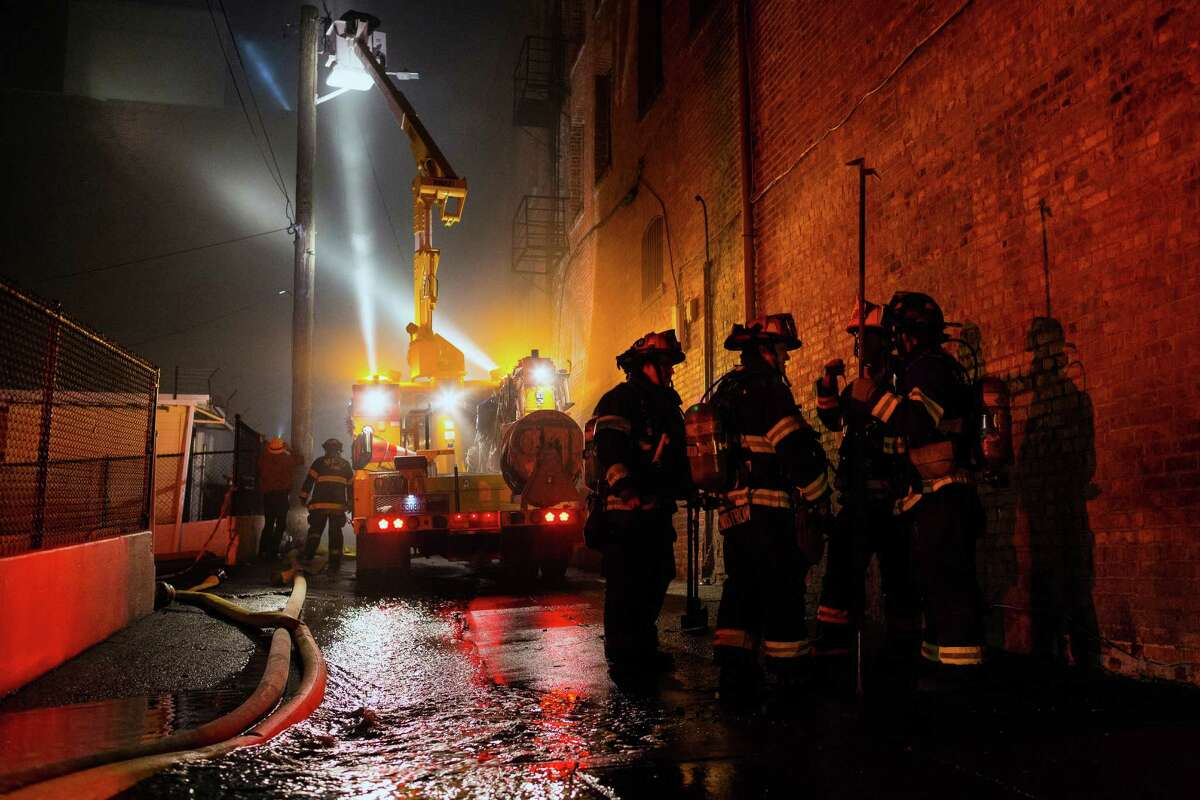 An estimated 90 firefighters battled a two-alarm blaze that began around 4 PM Tuesday, Dec. 24, 2013, at 669 South King Street in Seattle. The cause of the fire is still unknown and continues to be considered
