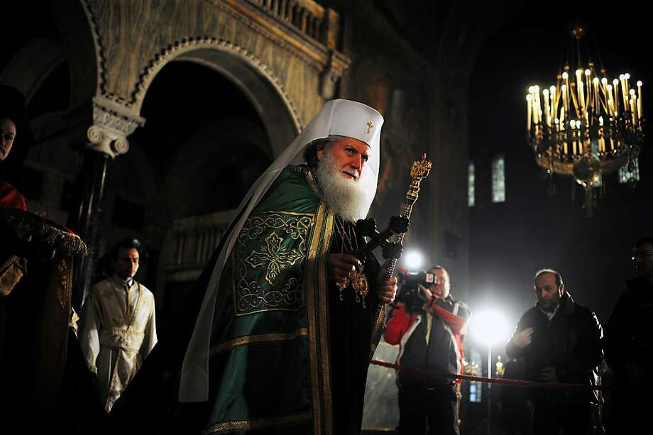 Bulgaria's newly elected Orthodox Church Patriarch Neophyte leads the Christmas mass in the golden-domed Alexander Nevsky cathedral in central Sofia on December 25, 2013. Bulgaria, unlike some other fellow Orthodox countries, celebrates Christmas on December 25.  Photo: Nikolay Doychinov