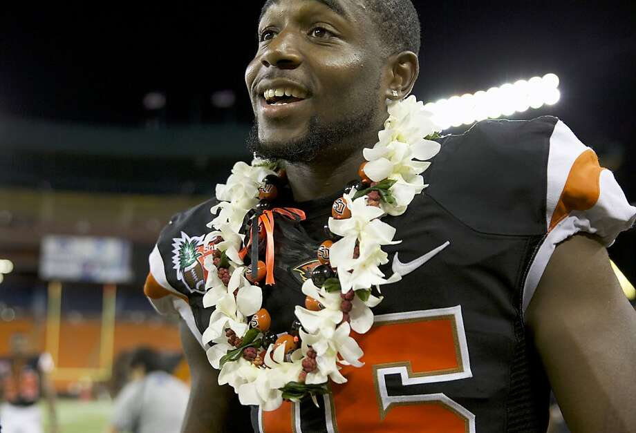 Oregon State's Rashaad Reynolds (16) was the MVP in the Hawaii Bowl NCAA college football game against Boise State, Tuesday, Dec. 24, 2013, in Honolulu. (AP Photo/The Oregonian, Randy L. Rasmussen) Photo: Randy L. Rasmussen, Associated Press