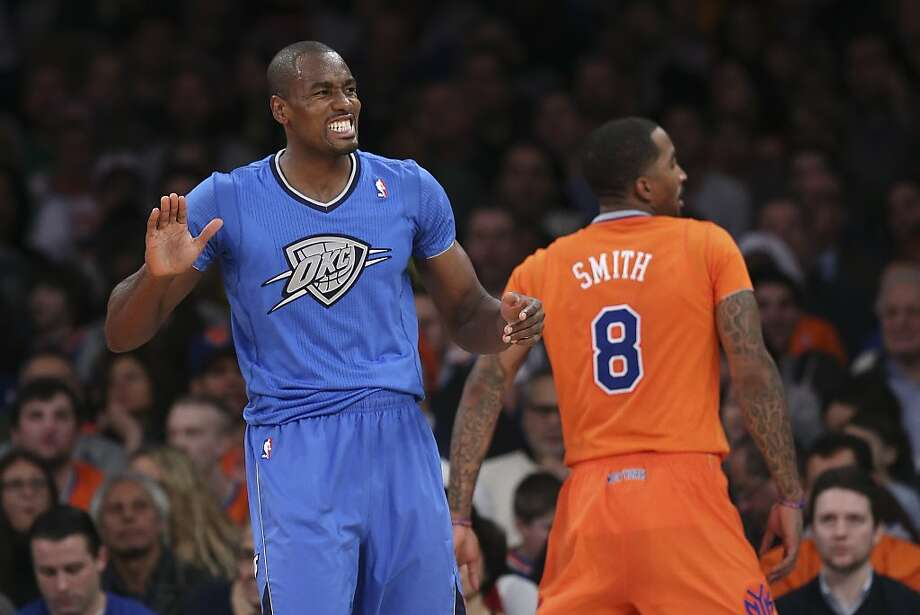 Oklahoma City Thunder power forward Serge Ibaka (9) reacts after drawing a foul on New York Knicks shooting guard J.R. Smith (8) during the first half of their NBA basketball game at Madison Square Garden, Wednesday, Dec. 25, 2013, in New York. Photo: John Minchillo, Associated Press