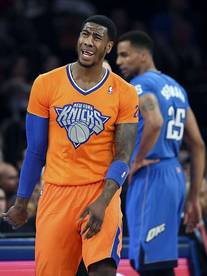 New York Knicks shooting guard Iman Shumpert (21) reacts to a call during the first half of an NBA basketball game against the Oklahoma City Thunder at Madison Square Garden, Wednesday, Dec. 25, 2013, in New York.  Photo: John Minchillo, Associated Press
