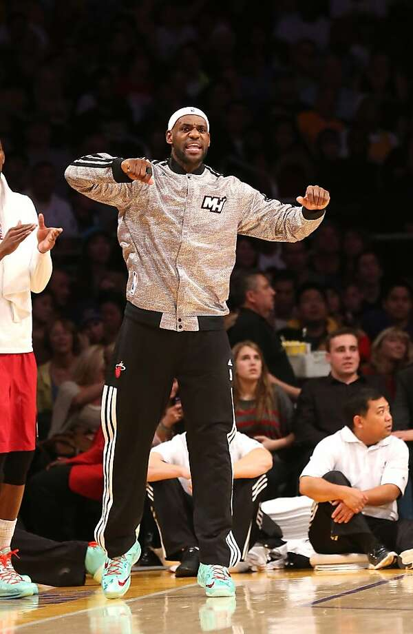 LeBron James #6 of the Miami Heat cheers from the bench against the Los Angeles Lakers at Staples Center on December 25, 2013 in Los Angeles, California.  Photo: Stephen Dunn, Getty Images
