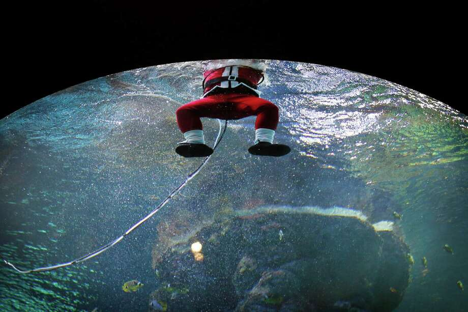 A diver dressed as Santa Claus surfaces after swimming in the Coral Garden tank, Tuesday, Dec. 24, 2013 at the South East Asia Aquarium of Resorts World Sentosa, a popular tourist attraction in Singapore. The performance was part of the aquarium's Christmas celebrations. Photo: Wong Maye-E, Associated Press / AP